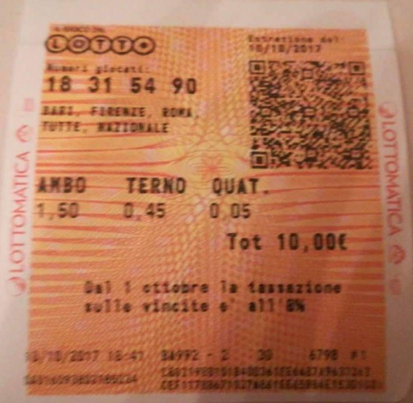 GINESTRINO - VINTI AMBO IN Q. 54.90 FI E 18.31 BARI 2C - VINTI 131 EURO